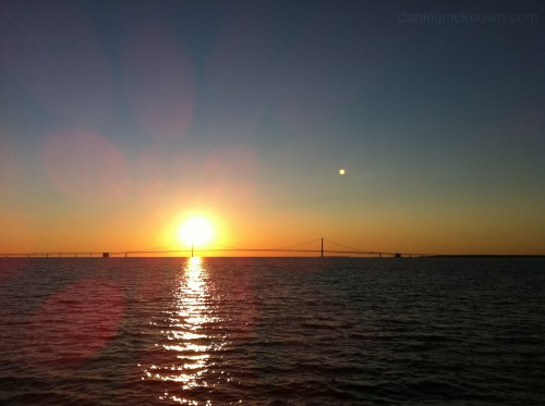 sunset over the Mackinac Bridge